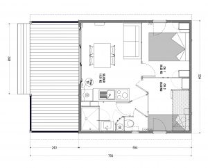 Plan chalet 2 Camping Les Amandiers
